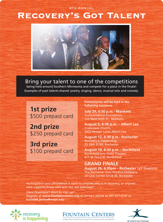 Recovery's Got Talent Flier